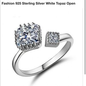 New 925 Sterling silver adjustable topaz ring